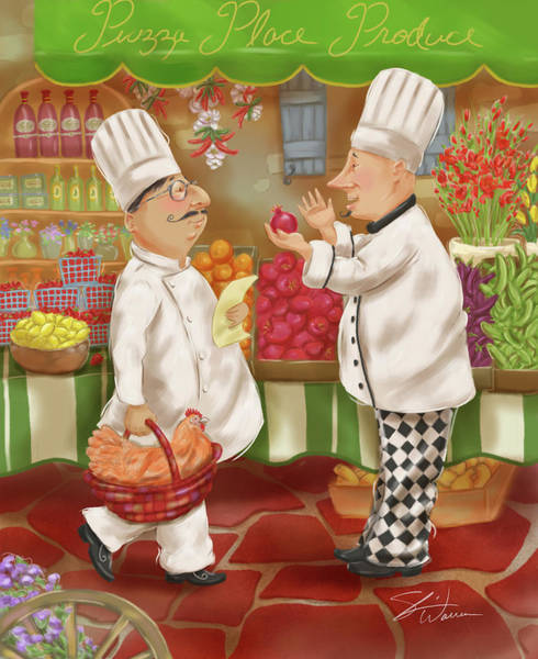 Mixed Media - Chefs Go To Market Iv by Shari Warren