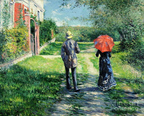 Blue Dress Painting - Chemin Montant by Gustave Caillebotte