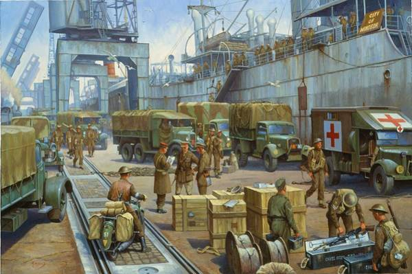Regiment Wall Art - Painting - Cherbourg 1940. by Mike Jeffries