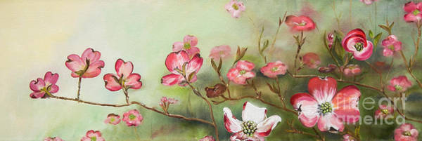 Dogwood Painting - Cherokee Dogwood - Brave- Blushing by Jan Dappen