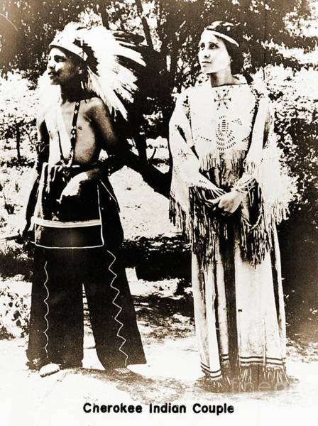Photograph - Cherokee Indian Couple by Gary Wonning