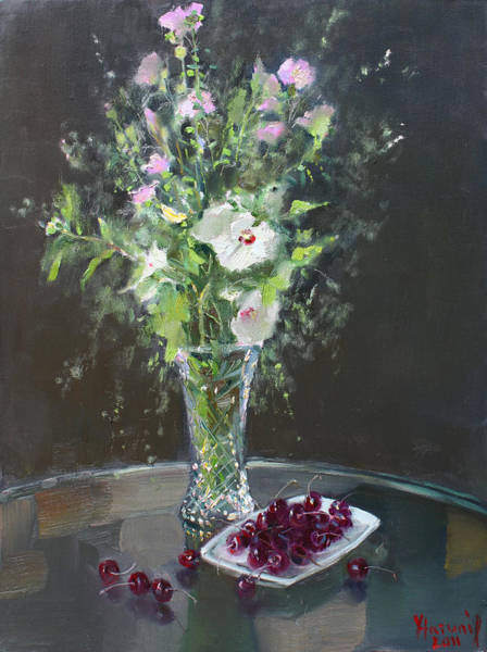 Still-life Painting - Cherries And Flowers For Her IIi by Ylli Haruni