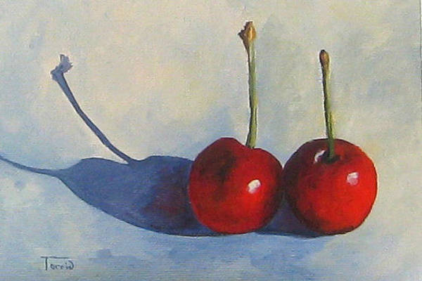 Wall Art - Painting - Cherries And Shadows  by Torrie Smiley
