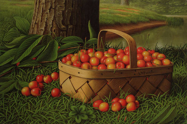 Oil Well Painting - Cherries In A Basket by Levi Wells