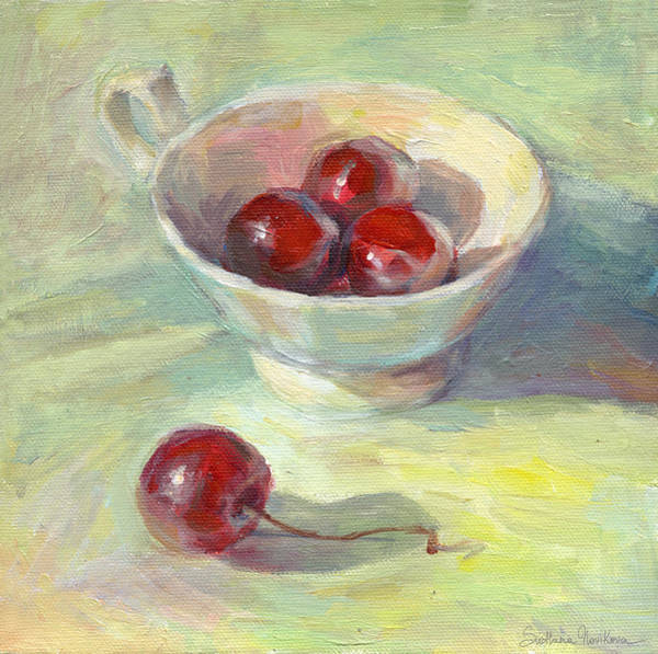 Painting - Cherries In A Cup On A Sunny Day Painting by Svetlana Novikova