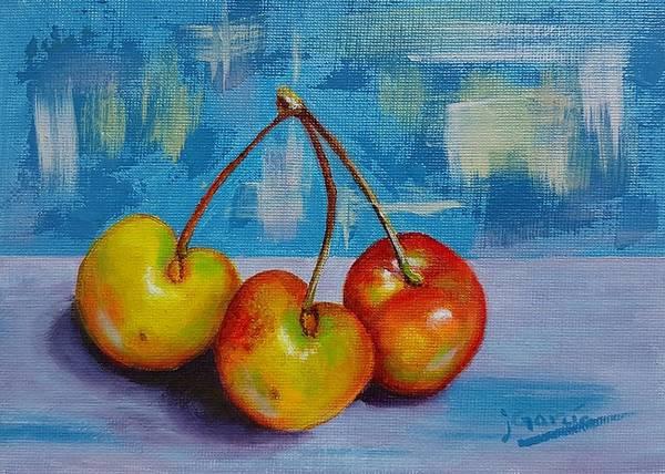 Painting - Cherries Trio by Janet Garcia