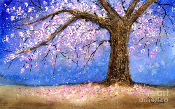 Pink Blossom Painting - Cherry Blossom by Hailey E Herrera