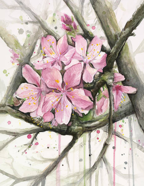 Blooming Tree Painting - Cherry Blossom by Olga Shvartsur