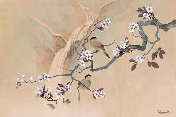 Digital Art - Cherry Blossom Tree And Two Birds by M Spadecaller