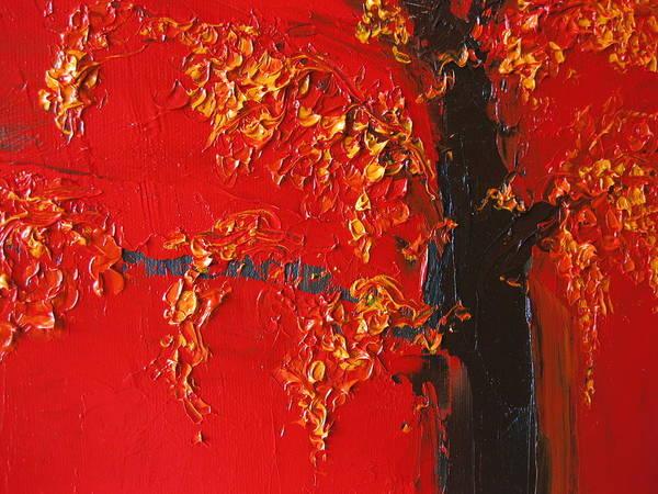 Cherry Blossom Tree - Red Yellow Art Print