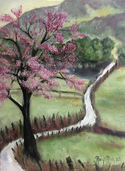 Landscape Painting - Cherry Blossom Tree by Roxy Rich