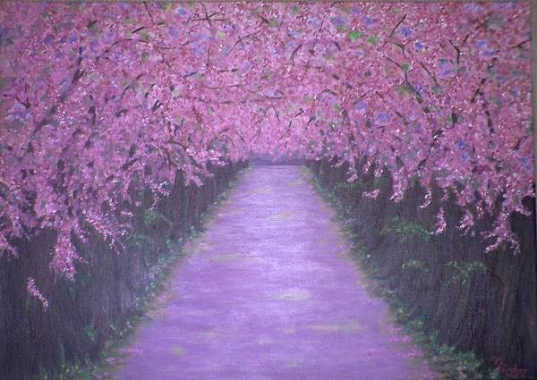 Painting - Cherry Blossom Walk by Joy of Life Art Gallery