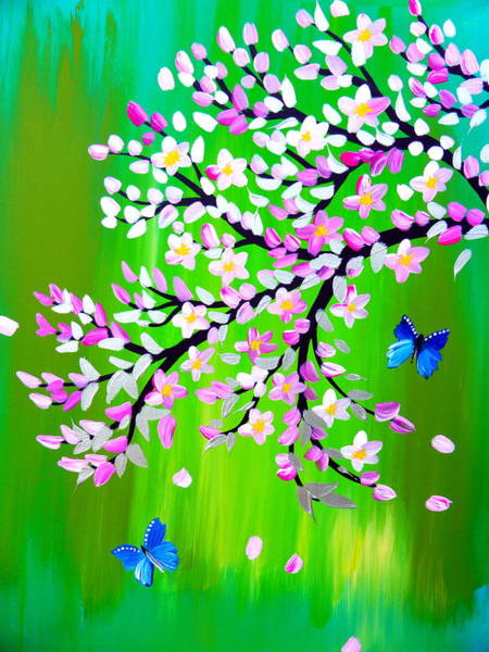 Framing Painting - cherry blossom with green - modern Japanese style art by Cathy Jacobs