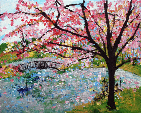 Meadowlark Painting - Cherry Blossoms And Bridge 3 201730 by Alyse Radenovic