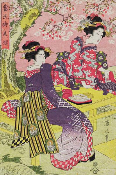 Kansai Painting - Cherry Blossoms In A Palace Garden by Kikugawa Eizan