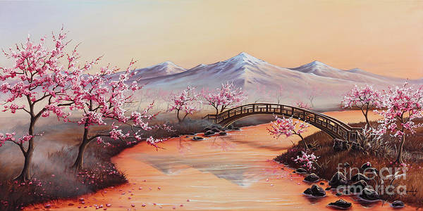 Cherry Tree Painting - Cherry Blossoms In The Mist - Revisited by Joe Mandrick