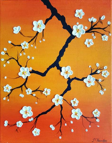 Comission Painting - Cherry Blossoms Over An Orange Sky by Jessica T Hamilton