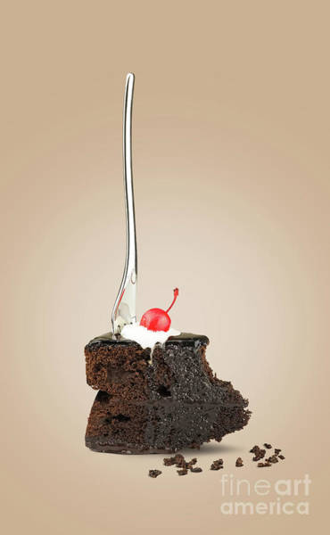 Souse Photograph - Cherry Cake With Fork On Beige by Kira Yan