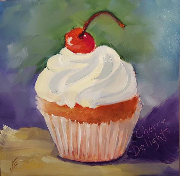 Painting - Cherry Delight Cupcake by Judy Fischer Walton