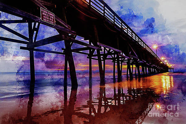 Digital Art - Cherry Grove Pier Sunrise Watercolor by Myrtle Beach Days Collection