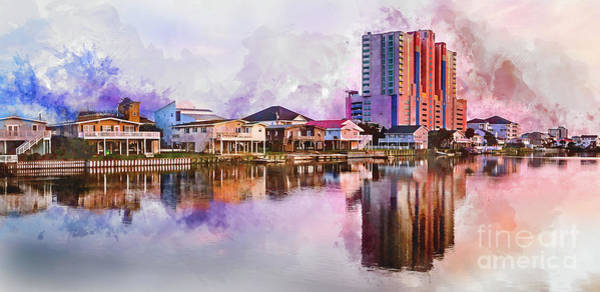 Digital Art - Cherry Grove Skyline - Digital Watercolor by David Smith
