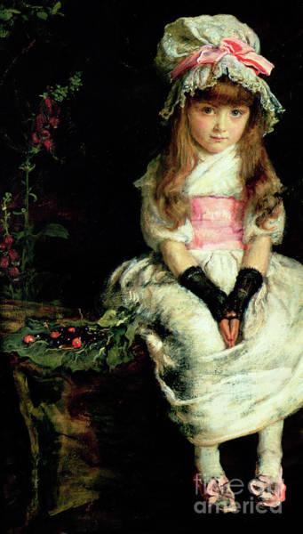 Millais Painting - Cherry Ripe   Detail by John Everett Millais