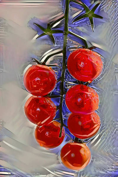 Ingredient Digital Art - Cherry Tomatoes On A Branch by Evgeny Parushin