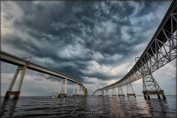 Photograph - Chesapeake Bay Bridge Storm by Erika Fawcett
