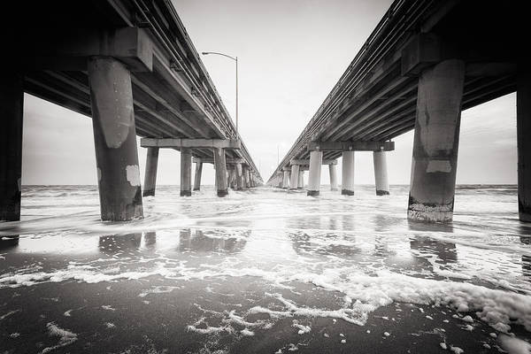 Photograph - Chesapeake Bay Bridge Tunnel In Black And White by Lisa McStamp