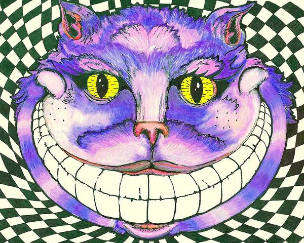 Checker Drawing - Cheshire Cat Mind Slop Style by Michael Walker
