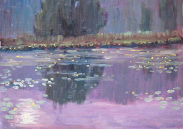 Lilly Pad Painting - Cheshire Lake Lilly Study by Len Stomski