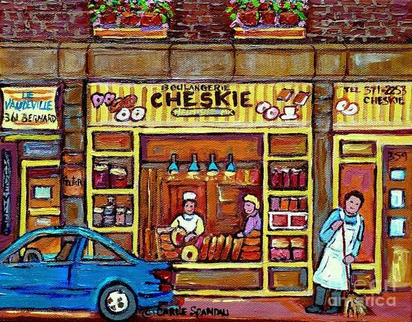 Painting - Cheskie Hamishe Bakery Bernard Montreal Kosher Bread And Cookie Shop Jewish Neighborhood C Spandau   by Carole Spandau
