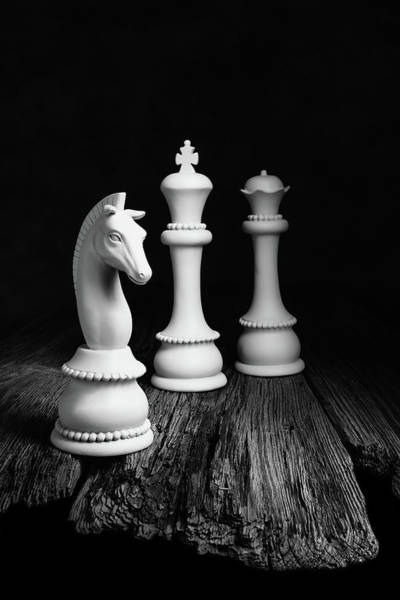 Wall Art - Photograph - Chess Pieces On Old Wood by Tom Mc Nemar
