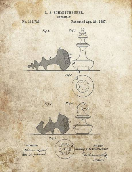 Drawing - Chess Pieces Patent by Dan Sproul
