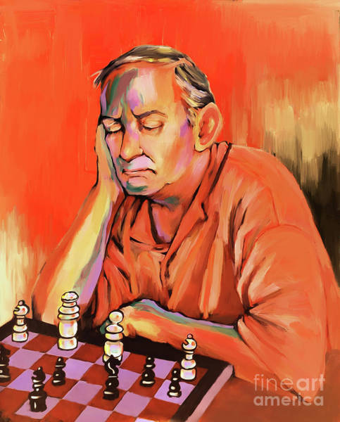 Master Piece Painting - Chess Player 01 by Gull G