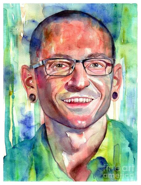 Smiling Painting - Chester Bennington Portrait by Suzann Sines