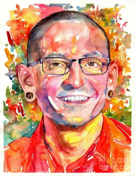 Smiling Painting - Chester Bennington Watercolor by Suzann Sines