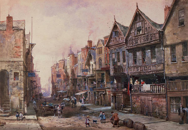 Half Timbered Painting - Chester by Louise J Rayner