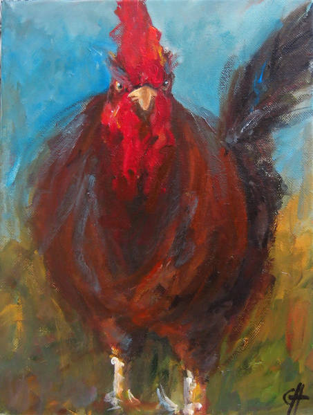 Wall Art - Painting - Chester The Chicken by Cari Humphry