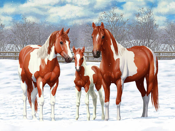 Wall Art - Painting - Chestnut Paint Horses In Winter Pasture by Crista Forest