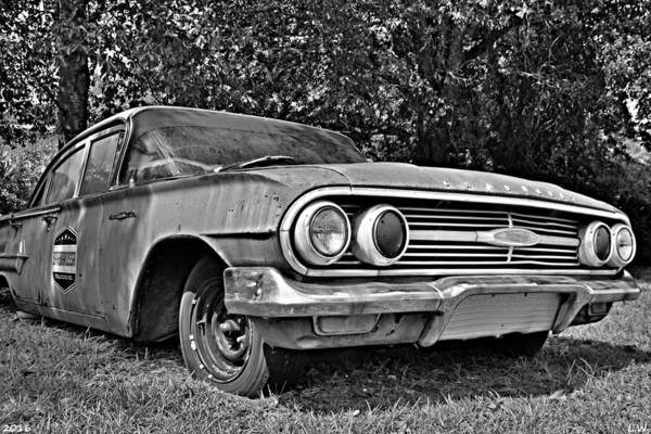 Photograph - Chevrolet Bel Air Black And White by Lisa Wooten