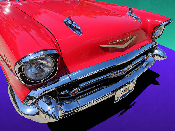 Photograph - Chevrolet Bel Air Front Close-up Color Pop by Debi Dalio