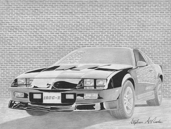 Car Drawings Mixed Media - Chevrolet Camaro Iroc-z Classic Muscle Car Art Print by Stephen Rooks