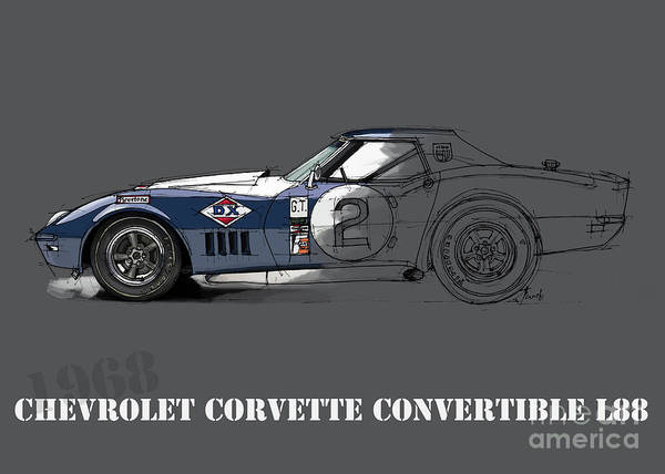 Arte Digital Art - Chevrolet Corvette Convertible L88 1968, Ink And Markers Art Print by Drawspots Illustrations