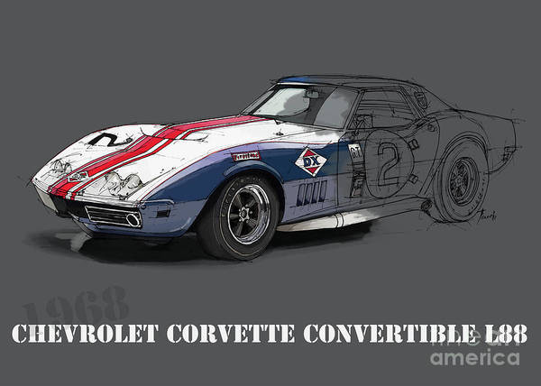 Arte Digital Art - Chevrolet Corvette Convertible L88 1968,original Fast Race Car by Drawspots Illustrations