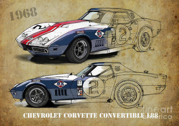 Wall Art - Digital Art - Chevrolet Corvette Convertible L88 1968,original Fast Race Car. Two Drawings, One Print by Drawspots Illustrations