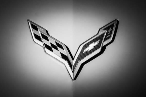Photograph - Chevrolet Corvette Emblem -0406bw by Jill Reger