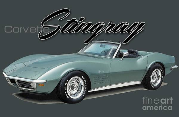 Chevrolet Drawing - Chevrolet Corvette Stingray Convertible by Paul Kuras