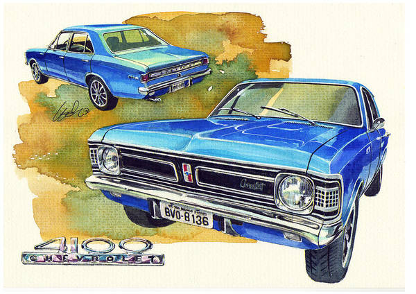 Brazil Painting - Chevrolet Opala 4100 by Yoshiharu Miyakawa