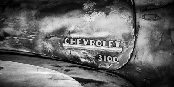 Photograph - Chevrolet Truck Side Emblem -0842bw2 by Jill Reger